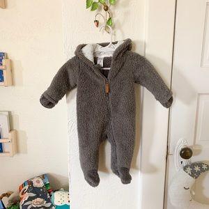 Cute fuzzy bear onesie